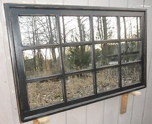 Window Pane Rectangular Black Distressed Mirror