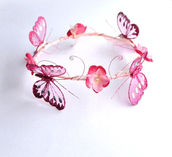 glittery pink butterfly crown