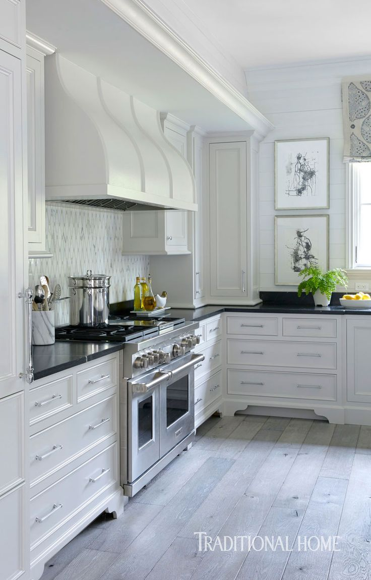 White Kitchen Cabinets With Gray Floors -