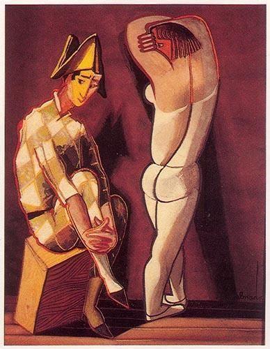 « Arlequim e Bailarina » Têmpera sobre papel. 580x425 mm José de Almada Negreiros (1873 - 1970 )