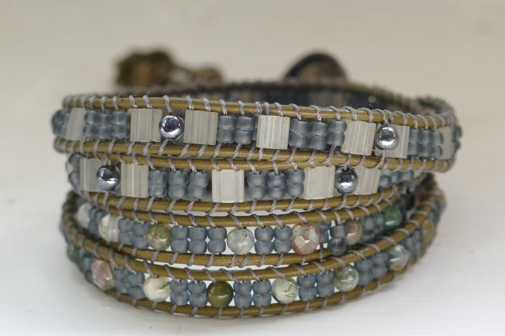 A personal favorite from my Etsy shop https://www.etsy.com/listing/278015606/graygreen-wrap-bracelet-patterned-wrap