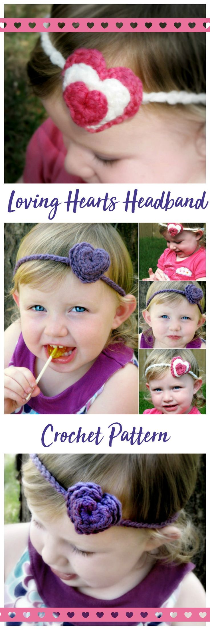Sweet downloadable crochet pattern! Loving Hearts 3 Layer Hearts Headband. #etsy #etsyseller #ad #crochet #handmade #hearts #love #valentine #valentinesday