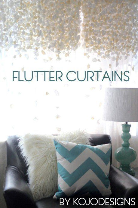 Anthropologie knock-off flutter curtains – 32 Brilliant DIY Anthropologie Knockoffs