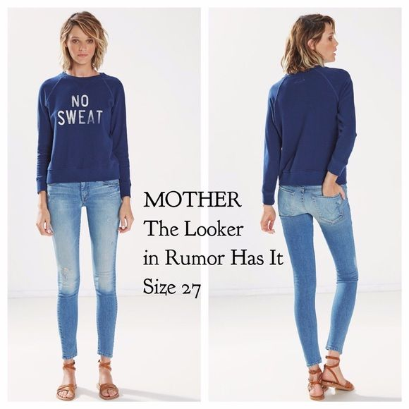 """MOTHERThe Looker Skinny Jean in Rumor Has It BNWOT, purchased directly from the brand and never worn, these amazing Mother's just launched at retail and sell for $218. The Looker is MOTHER's classic skinny jean in a form fitting silhouette guaranteed to turn heads. Rumor Has It is a classic blue wash weighty enough to keep you in place with just enough stretch to contour to your curves. Complete with faded sprinkles of paint and slight abrasions at the knees and back pockets. Inseam 29""""…"""