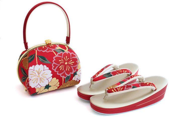 草履バッグセット振袖用名門「岩佐謹製」正絹帯地「八重桜」赤成人式2枚芯ゴールド振袖用最高級草履バッグセットフリーサイズ