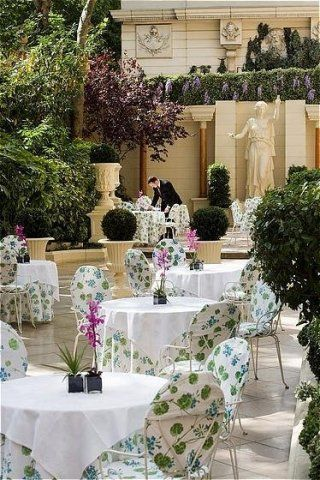 """Hotel Ritz - 15 Place Vendome, Paris 1e. In nice weather, enjoy the afternoon tea at the garden courtyard. Several fixed tea menus and a-la-carte from top pastry chef, also check for  the patisserie selections du jour. Try the famous chocolat tradition Ritz for """"les plus gourmands""""- rich hot chocolate with caramel crunch ice cream!"""