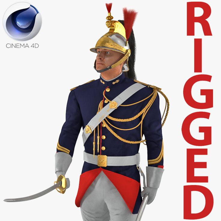 3D model French Republican Guard in Traditional Uniform Rigged for Cinema 4D