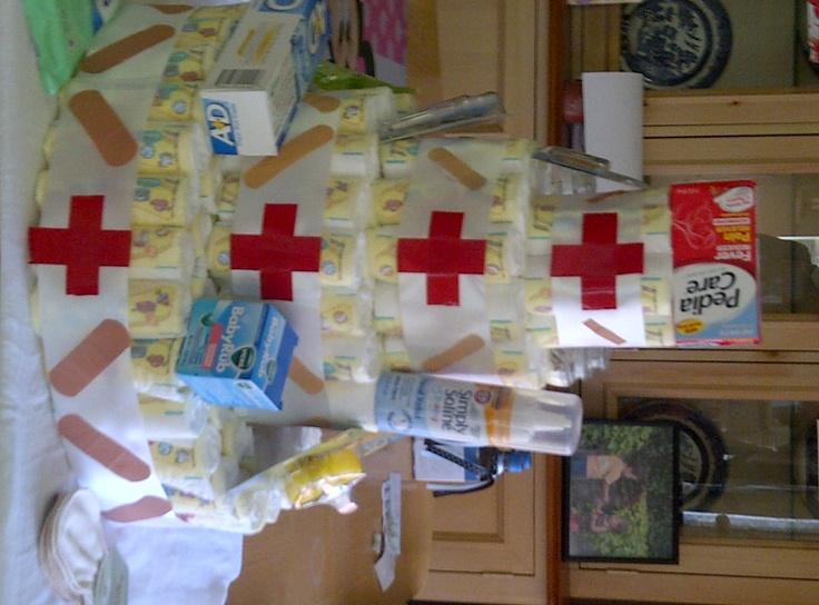 Medical diaper cake for those unpleasant surprises.