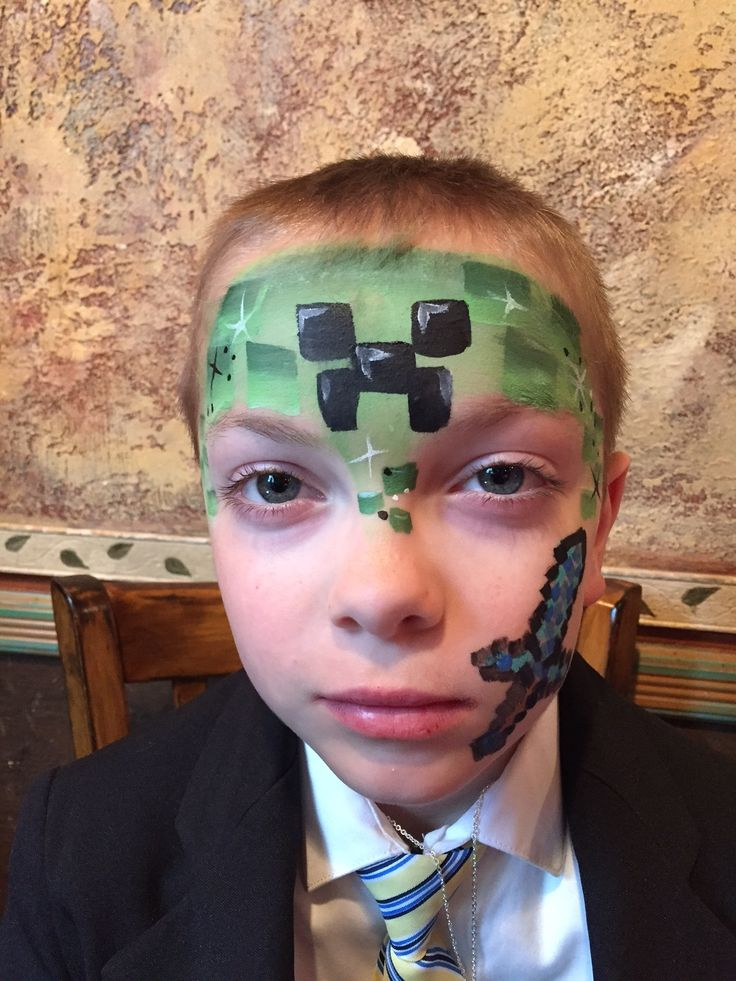 Minecraft face painting--the sword is not my specialty :-(  www.facebook.com/facepaintingbymarli