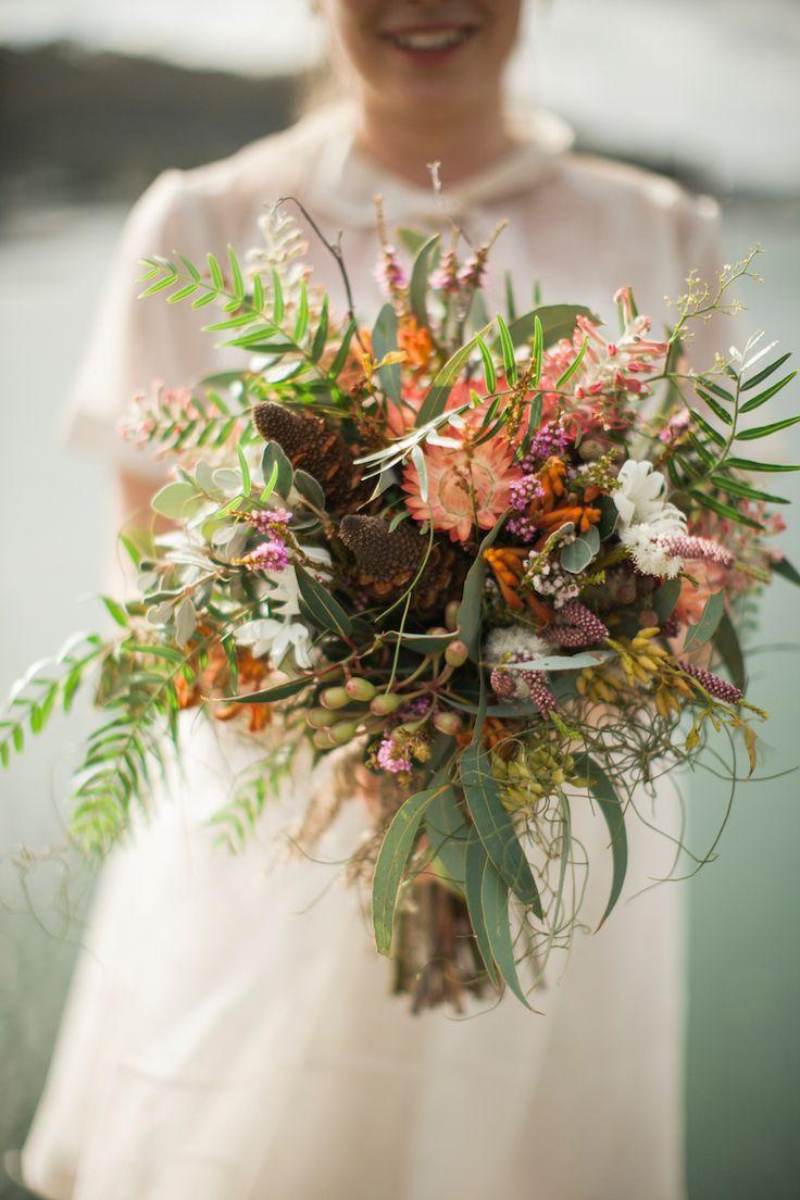 Australian native flower bouquet by Merrin Grace   Lauren and Steve's Eco wedding   Photography by A bear a Deer a Fox