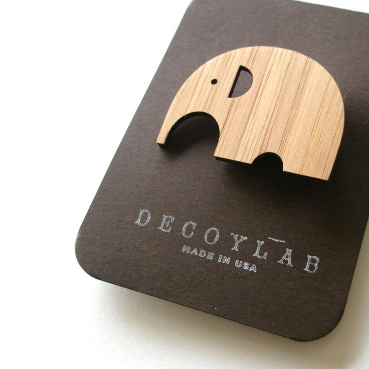Elephant Bamboo Brooch by decoylab on Etsy. $12.00, via Etsy.
