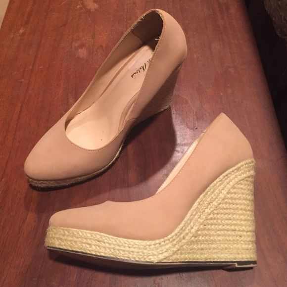 SUMMER CLEARANCE! Nude espadrille wedges Michael Antonio nude espadrille bottom wedges. Only worn twice. Michael Antonio Shoes Wedges