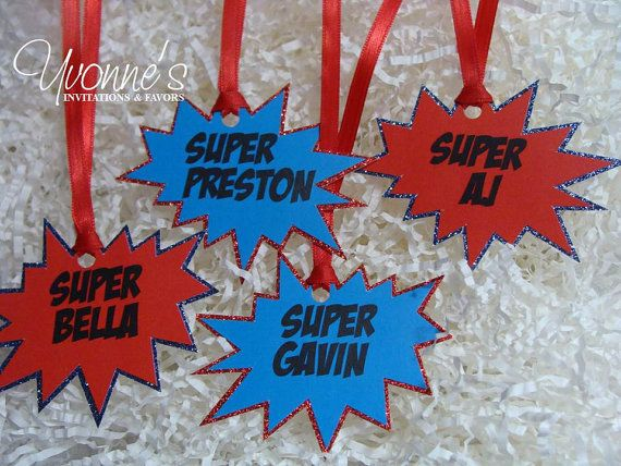 Super Hero Comic Book Party Favor Tags by CandyBarBoutique