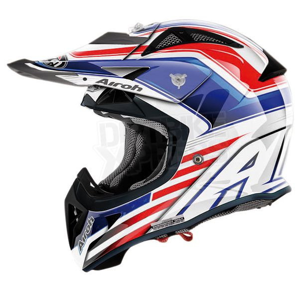 2013 Airoh Aviator Captain Helmet - Airoh Aviator Motocross Helmets  The 2013 Airoh Aviator Motocross Helmet Captain design, Manufactured by Airoh this Blue, White & Red Aviator is the ultimate Des Nations Airoh!.  The Airoh Aviator is A BRAND NEW Carbon Kevlar helmet from the masters of light-weight helmet manufacturing. Featuring a revolutionary new ventilation system. As worn by Antonio Cairoli!