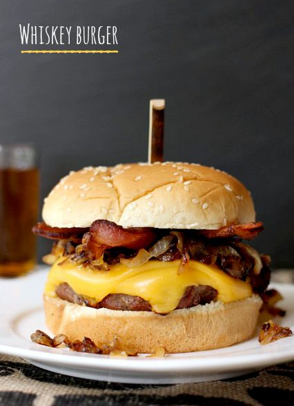 These burgers are soaked in whiskey and garlic then grilled. Top with caramelized onions, bacon and cheese, or your favorite toppings.