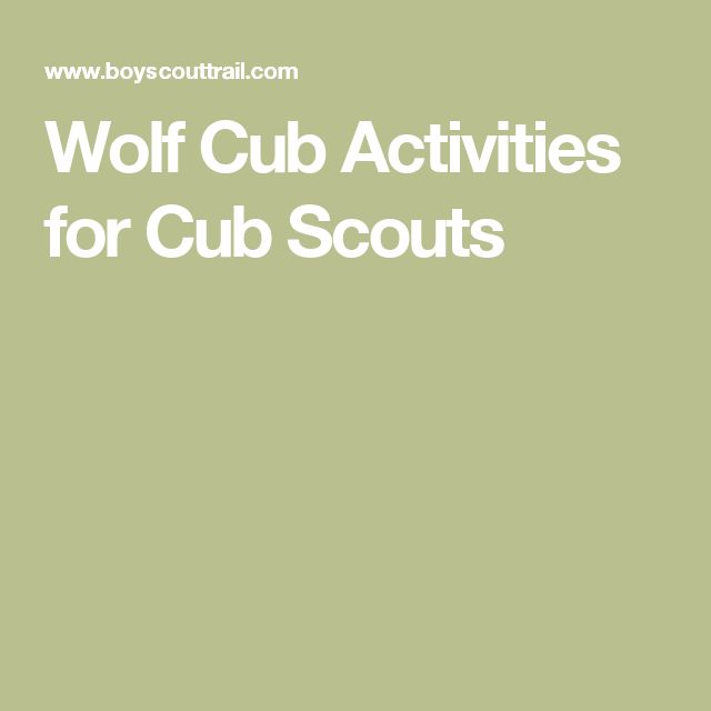 Wolf Cub Activities for Cub Scouts