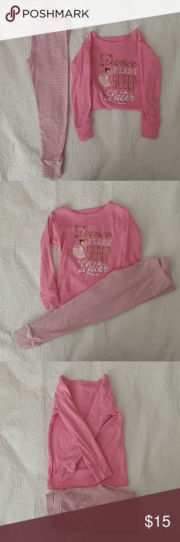 """3T PJs Dance First Sleep Later Super cute and comfy PJs! 3T Carter's bubblegum pink long sleeve top that says """"Dance First Sleep Later."""" Matching pink and gray striped pants.  100% cotton, worn once or twice.   Offers and questions are encouraged! Carter's Pajamas Pajama Sets"""