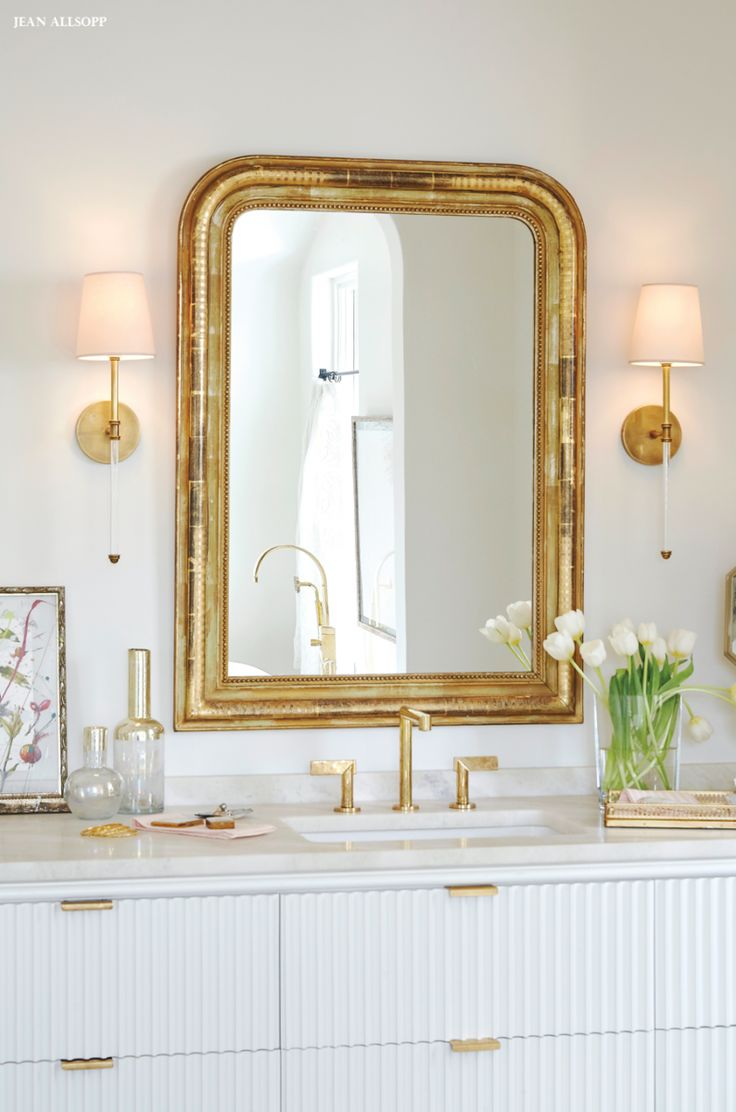 Gold frame mirror Circa Lighting Camille Sconce bathroom brass hardware