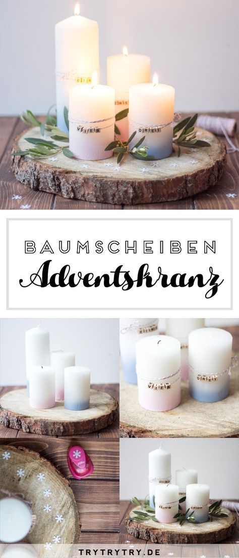 DIY tree disc Advent wreath simple also for the …