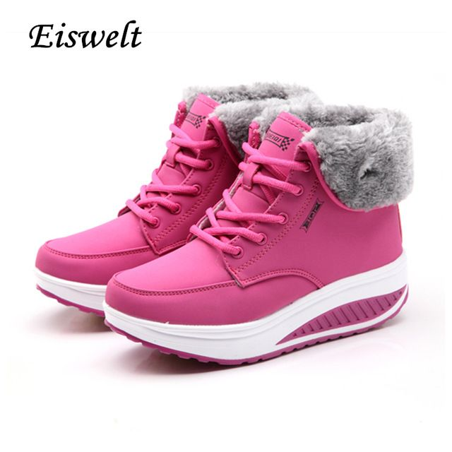 Top Sale $24.95, Buy EISWELT Winter Female Plus Velvet Swing Shoes Snow Platform Boots Women Thermal Cotton-padded Shoes Flat Ankle Boots#EHL18