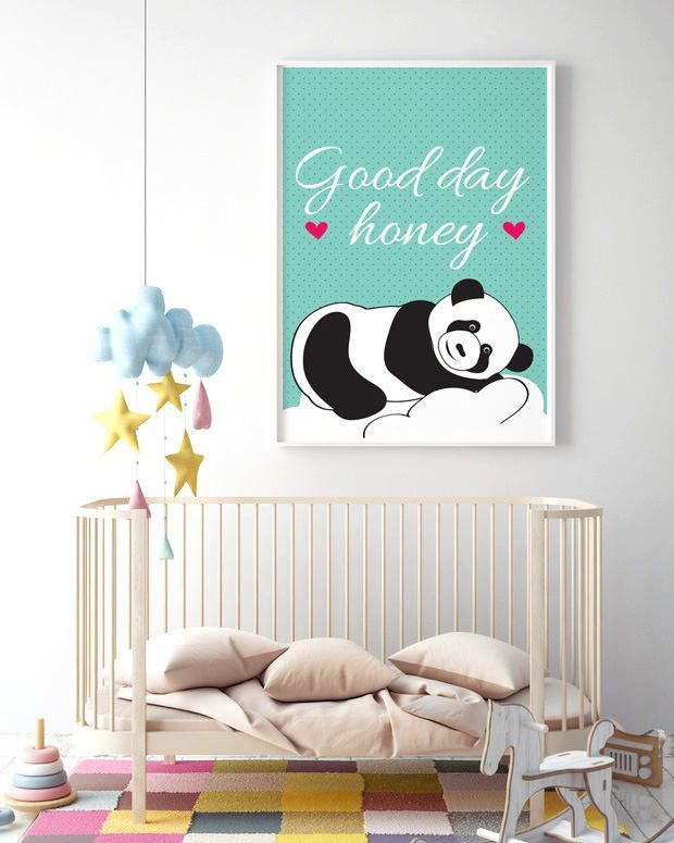 Black and white panda bear on a sea background, Dot, For a newborn baby, For Kids, Birthday, Housewarming Gift, Home decor,Gift idea by MerryGallery on Etsy