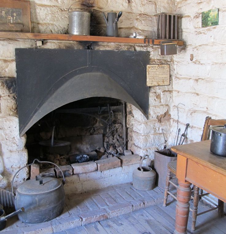 Cottage cooking over an open fire, Pioneer Settlement, Swan Hill, Victoria