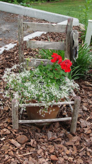 old chair flower pot.