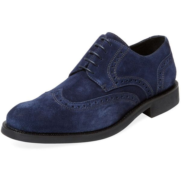 BUGATCHI Men's Wing Derby Shoe - Blue, Size 10 ($169) ❤ liked on Polyvore featuring men's fashion, men's shoes, men's dress shoes, blue, mens dress shoes, mens wingtip shoes, mens brogue shoes, mens shoes and mens suede brogues