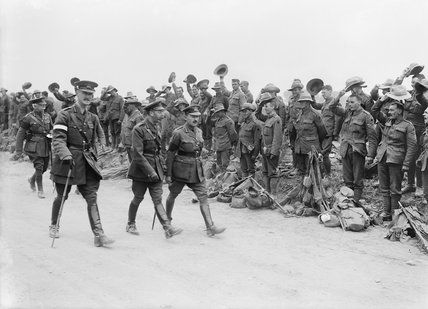 King George V, with Generals Plumer, Godley and Harper, inspecting New Zealand infantry units about to entrain at Steenwerck, 14 August 1916., Brooks, Ernest (Lt)