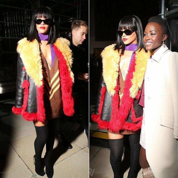 Rihanna At Miu Miu Fall Winter 2014 Fashion Show Wearing