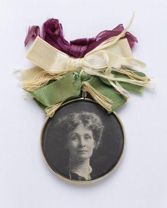 Victorian #suffragette brooch with photo of Emmeline Pankhurst.
