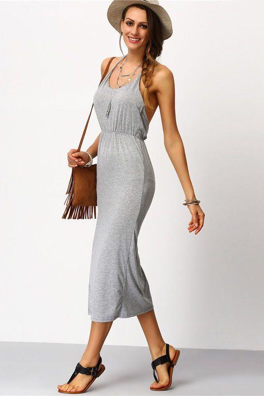 Gray Backless Side Split Midi Dress FREE WORLDWIDE SHIPPING