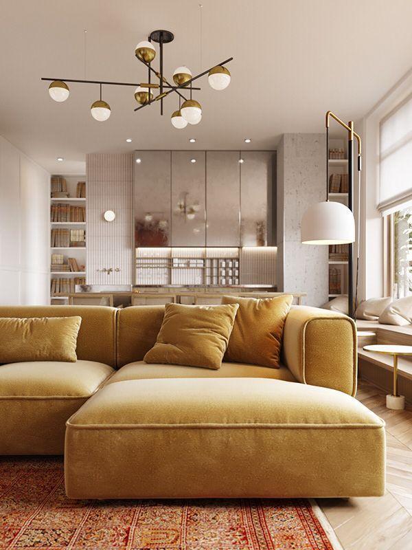 Mustard Yellow Sofa Modern Design Living Room Warm Home Decor