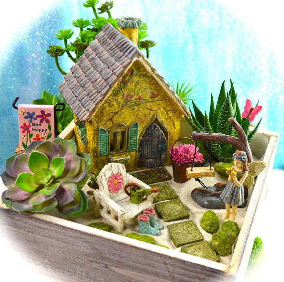 Butterfly Garden Planter Kit ~ Butterfly Cottage ~ Miniature Garden Set ~ Sand NOT Included ~ Fake Succulent/Fairy Option at Checkout