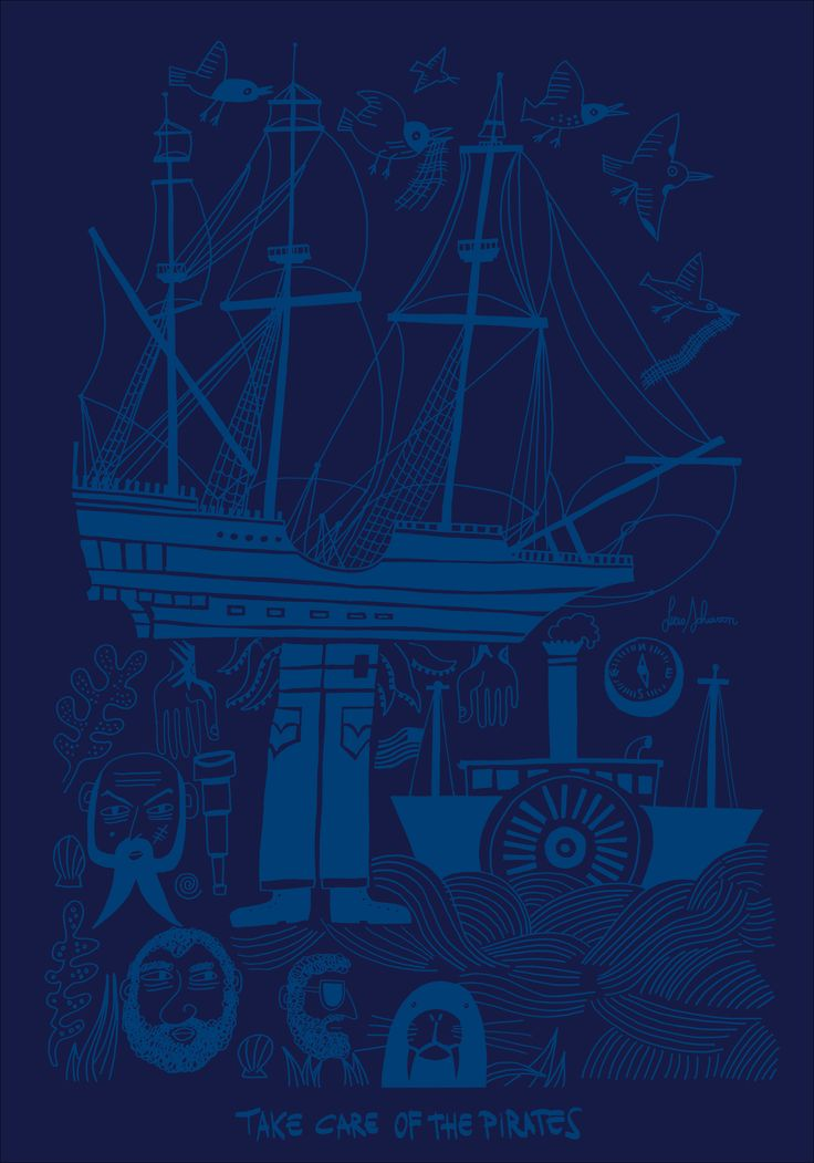 TAKE CARE OF PIRATES! by Lucio Schiavon. Serigrafia a 1 colore cm. 70x100