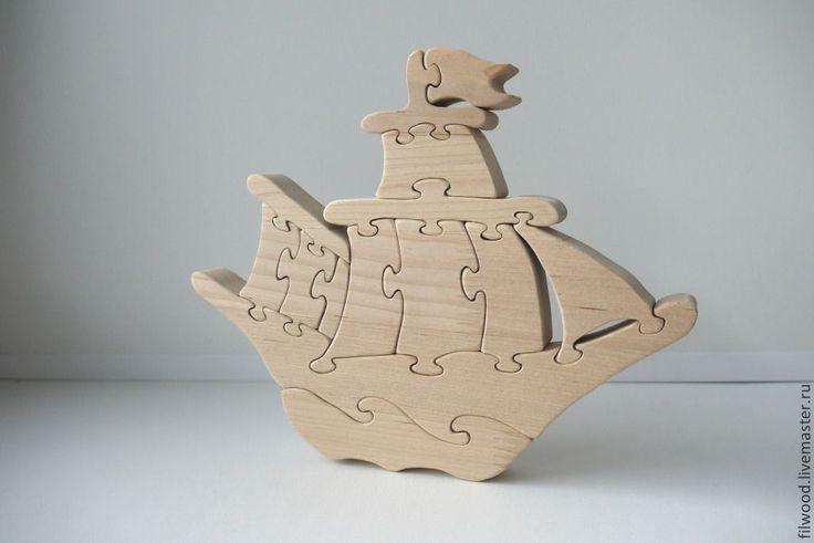 """Купить Пазл """"Парусник"""" - бежевый, Пазл, пазлы из дерева, пазлы, деревянные пазлы, головоломка, игрушка"""