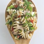 Vegetable and Tuna Pasta Salad This delicious pasta salad recipe is made with zucchini, sun-dried tomatoes, arugula and chunk light tuna, which is lower in mercury than white albacore tuna. Calories - 285 Carbohydrates - 28g Saturated Fat - 3g Protein - 17g Sodium - 401mg Dietary Fiber - 3g