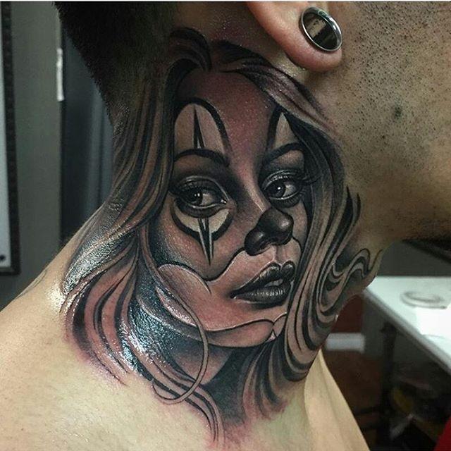 Clown girl by @manuel_valenzuela #mexicanstyle_tattoos #mexstyletats #mexicanculture #ink #tattoo #blackandgrey #payasatattoo #clowngirltattoo