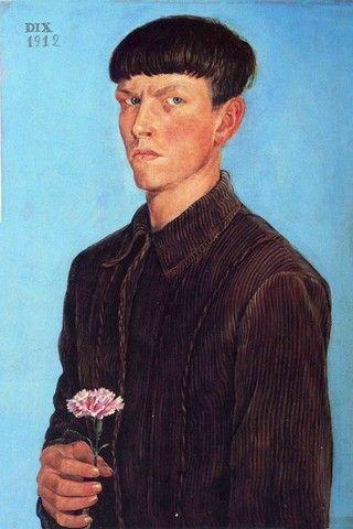 Гвоздика Отто Дикс. Автопортрет. Германия, 1912 год  Detroit Institute of Arts