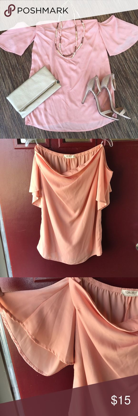 Off the shoulder flutter sleeve dress This cute baby pink/peach dress is perfect for spring into summer! The outfitted picture is natural light, while the hanging pictures are not natural light. Never worn, but tag not attached. rokoko Dresses Mini
