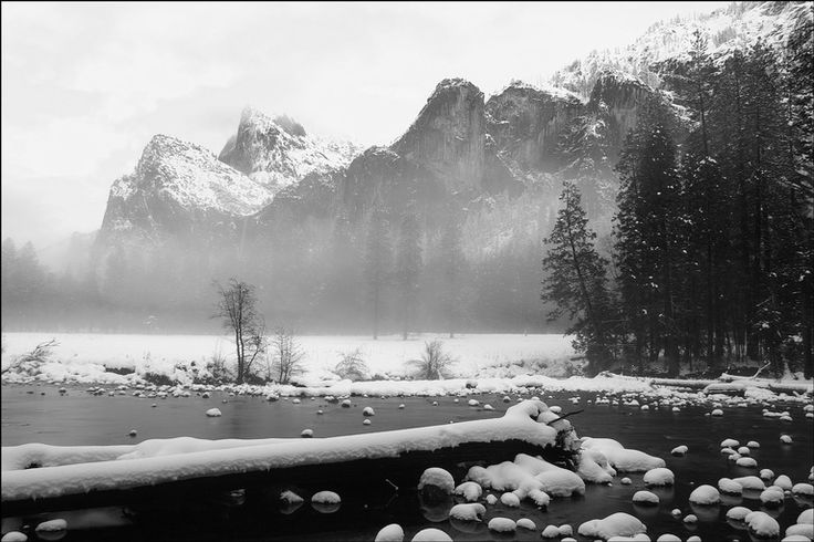 Merced River and Cathedral Rocks in Yosemite valley
