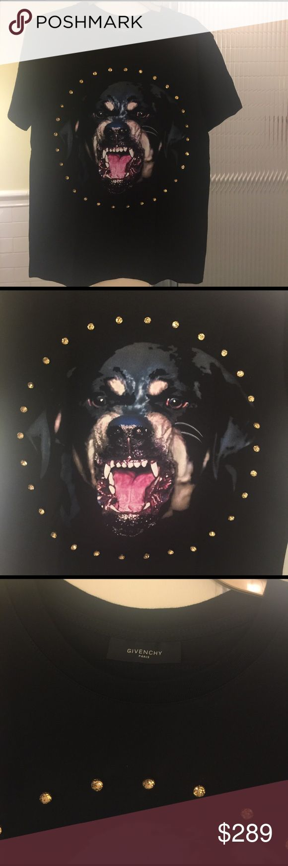 Givenchy Rottweiler rare tee. Worn twice. In great condition. No stone is missing. 100% cotton. Made in Paris. Machine washable/delicate. This particular design was not produced huge quantities. Department stores still carry Rottweiler collection pieces so you can compare the price. I would say this would look great on size small and medium. Thank you Givenchy Tops Tees - Short Sleeve