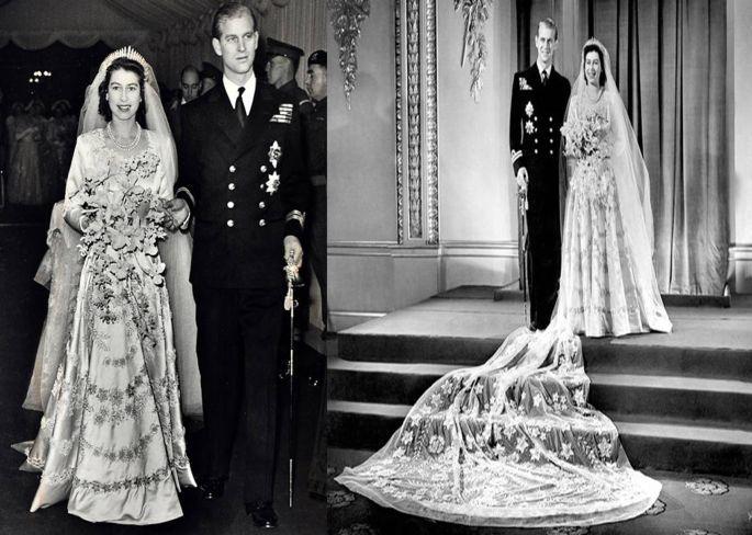 Il 20 novembre 1947 l'attuale regina d'Inghilterra si sposò con il principe Filippo. Da notare il bouquet: lungo e cadente come voleva la tradizione di famiglia