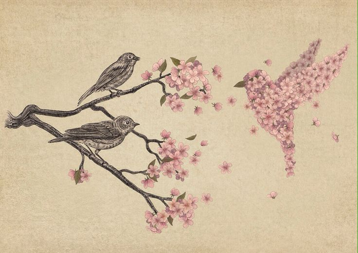 Maybe something like this, but with the normal birds in black and white and the cherry blossoms in the pastel pink color as a tattoo. I would probable get it on my upper left shoulder.