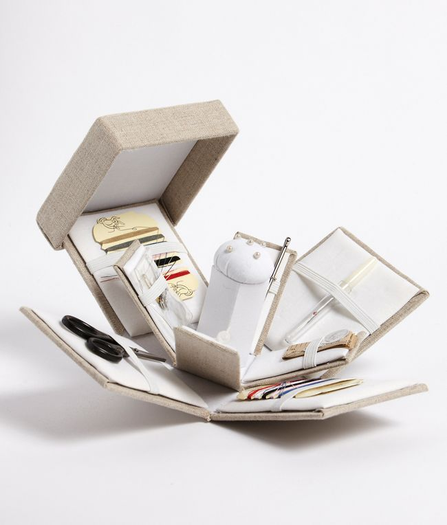 This classic sewing kit is a reminder of precious moments from times gone by, plus deceptively innovative- perfect for storing all those bits and pieces. Perfect for the non sewer! All bits and pieces seen here are included in the kit.
