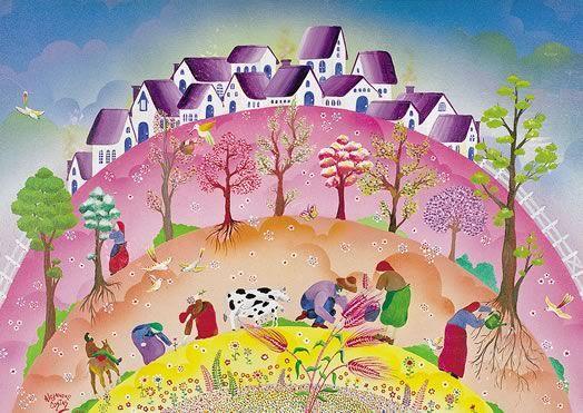 """""""Vida""""     Coloridas franjas de un activo arco iris.   El hombre en su vital ciclo. Doradas espigas que alimentan.   Desinteresada tierra que todo lo brinda y colabora, generosamente, a edificar formas de vida más sanas y justas. Aire, color y armonía.   Sin dudas, esto es... vida   Alejandro Costas"""