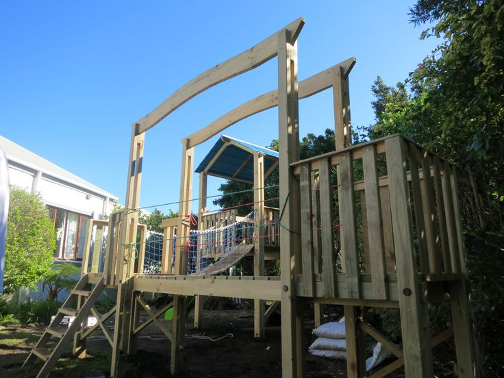 Joshua's Joy: An outdoor Play Structure / Jungle Gym with a draw bridge pulley system.