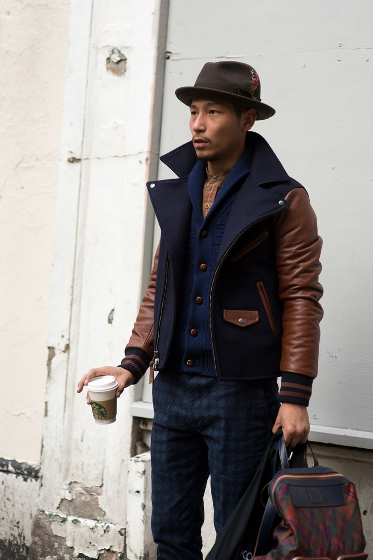 "Varsity jacket with fisherman's lapels. ""London Collections: Men Street Style - GQ.co.uk"""