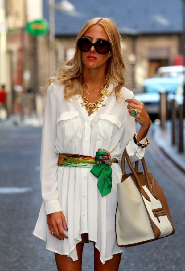 white shirt-dress & colourful scarf as belt