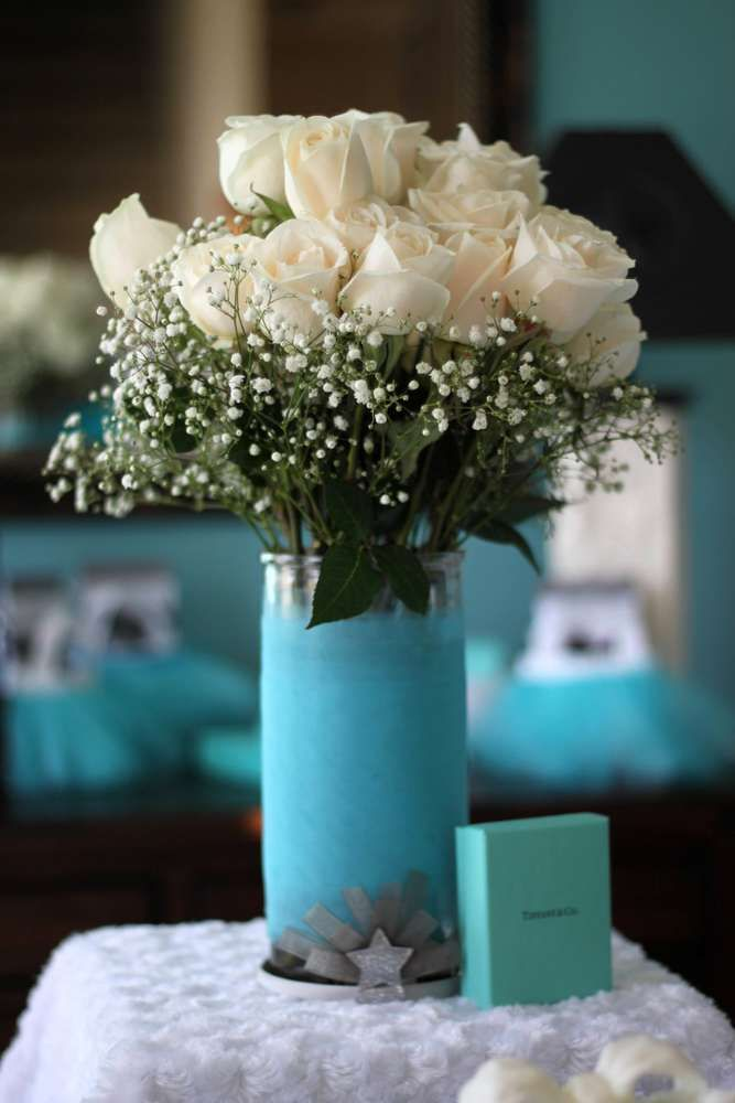 Lovely roses at a Tiffany birthday party!  See more party planning ideas at…